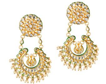 Mercina :Charming Stylish Kundan (Crystal)& Pearl Earrings Enameled at the back| Beautiful Chandbali Earring| Indian Jewelry| Kundan Jewelry