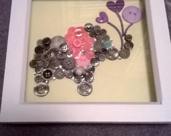 Button Art - Elephant with Balloons