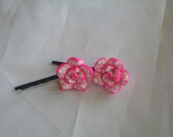 Pink & white flower bobby pins-flower bobby pins-bobby pins