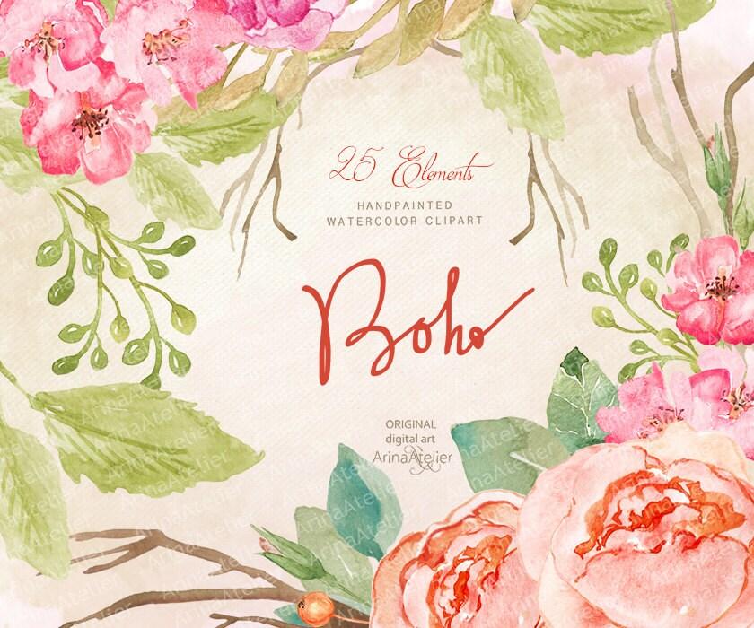Boho Watercolor Clipart Flowers Clipart Floral Clip Art