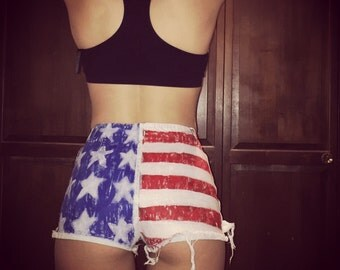 4th of July High Waisted Distressed Jean Shorts