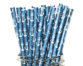 ANCHORS-  Paper Straws, Multipack, Combination, Baby Shower, Birthday Party 25 Straws