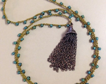 Crocheted seed bead necklace with chain tassel by SeeJanesBeads