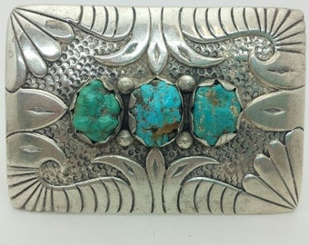 Vintage Ladies Large Sterling Silver and Turquoise Belt Buckle