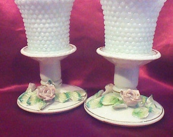 Royal Candle-holders with Tanco Milk Glass Votives