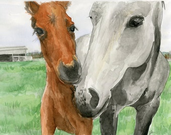 Custom Horse Equestrian Portrait in Watercolor and Ink