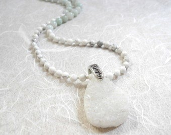 White Druzy Necklace, White Druzy Pendant on Amazonite and Howlite, Druzy Pendant on Gemstone Necklace