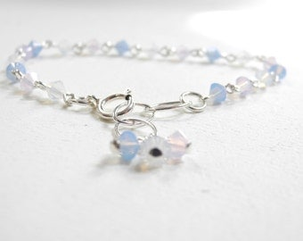 Swarovski Bracelet, Baby Pink Swarovski Bracelet, Baby Blue Swarovski Bracelet, Charm Bracelet, Pink Bracelet, Blue bracelet