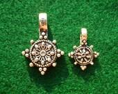 Pair of Buddhist Mala Prayer Bead Bum Counter Clips - DHARMA WHEEL - 925 SILVER