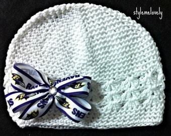 Baltimore Ravens Baby Girl Boutique Bow Crocheted Hat