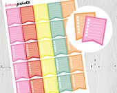 Checklist Flags Printable Stickers Brights, Planner Stickers, Erin Condren Planner, Plum Paper Planner, Kikki K, Filofax, Calendars