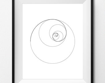 Digital Print Art - FIBONACCI SPIRAL II - Black - Geometric art, sacred geometry, golden ratio, digital printable - Instant Download