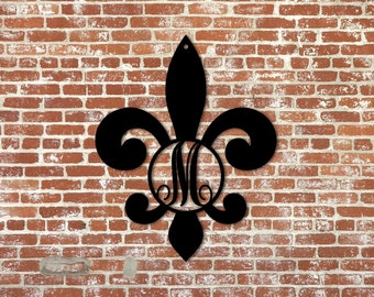 Fleur de Lis Momogram Home Decor - Wall Art Wall Decor - Wooden Initial in Fleur de Lis Border, unpainted
