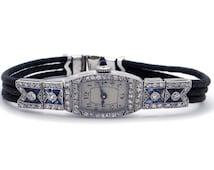 Vintage Art Deco Era Platinum 2ct Diamond & Sapphire 17 Jewels Manual Wind Ladies Watch