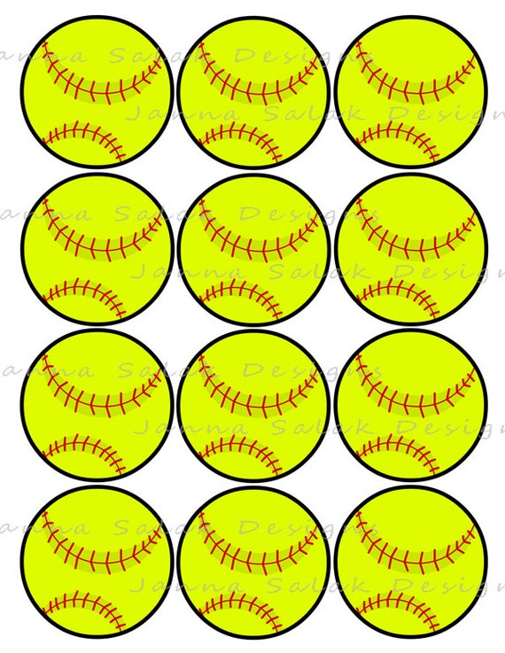 2 5 softball printable cupcake toppers sports theme birthday party diy printable instant. Black Bedroom Furniture Sets. Home Design Ideas