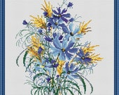 Cross Stitch Pattern Flowers Blue Cornflowers with spikelets (wildflowers) Counted Cross Stitch Pattern / Instant Download Epattern PDF File