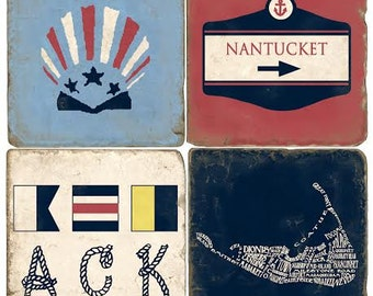 Nantucket Italian Marble Coasters