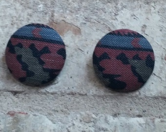 Tribal Jean Button Earrings