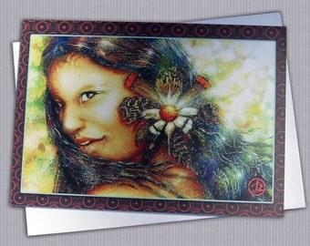"Amazon women GREETING card, Brazilian Amazon women,decorated with exotic feathers, ecofriendly,sustainable card,4.13"" x 5.82"""