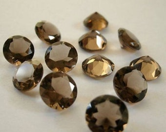 Lot of 15 Pieces Smoky Quartz Faceted 14X14 m.m. Round Cut Loose Gemstone