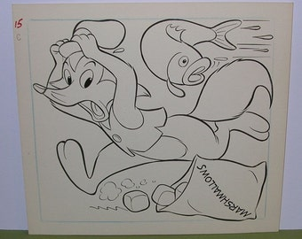 Vintage 1960s Whitman Coloring Book - Original Art - Walter Lantz Freddie Fox