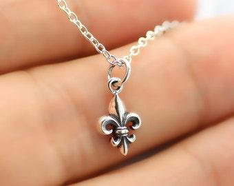 Tiny FLEUR DE LIS Necklace - 925 Sterling Silver - Fleur De Lys Charm Royal New