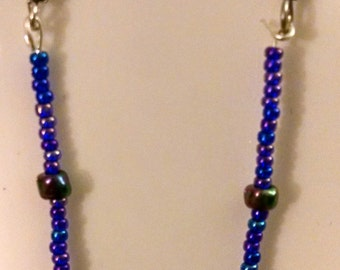 Blue and Purple Beaded Dangle Earrings