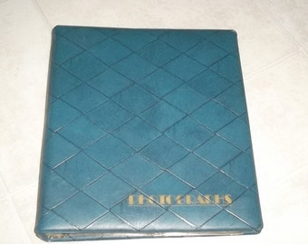 Vintage Blue 3 Ring Binder Photo Album with 30 clear photo sleeves