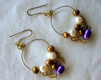 Purple and Gold Pearl Earrings