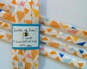 """LAST ONE - Colorful Triangles on White Art Gallery Fabrics """"Mojave Sand"""" Double Fold Bias Tape - 3 yards, 1/2"""" wide"""
