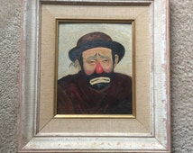 Signed oil painting, gift, Unique, Original, Vintage Oil Painting Of Emmett Kelly as a Sad Clown, Sign Marked By The Artist 8880034