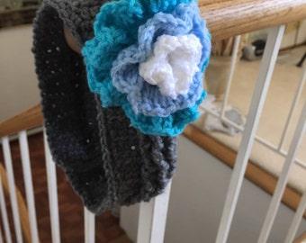Gray Headband big flower blue flower