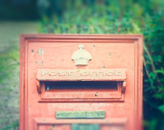 english post office mail box photography rustic wall britain mailbox red yellow pale pastel fine art photograph home decor beige artwork