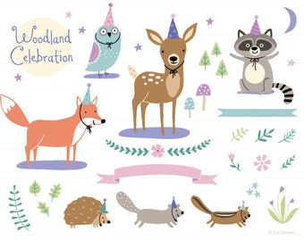 Woodland Party Clip Art - woodland clipart, baby clip art, baby clipart, birthday clipart, baby shower clipart, baby animals, cute clipart