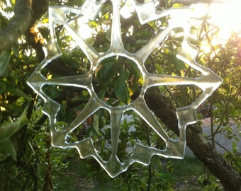 Large Glass Fused Snowflake
