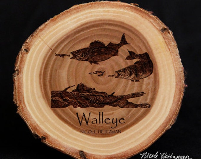 Father's Day Gift for men Christmas gift Fishing gifts for him Walleye Art Wood Coasters Lodge Cabin Man Cave Decor Fish Art by Heitzman
