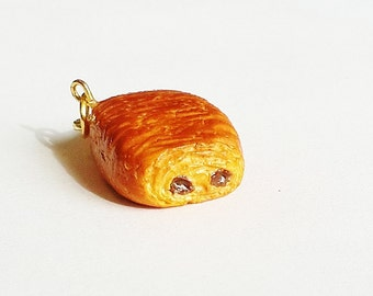 Handmade Chocolate Croissant Charm - Polymer Clay Food French Pastry - Miniature Food Jewelry - Pain au Chocolat