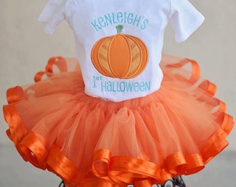 Fall Pumpkin 1st Halloween Tutu Set Girls Custom Applique Shirt
