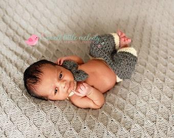 Newborn Boys Pants and Bow Tie Set, Baby Pants and Bow Tie, Boys Pants & Bow Tie, Newborn Photo Prop, Baby Boy Photo Prop, Baby boy clothes