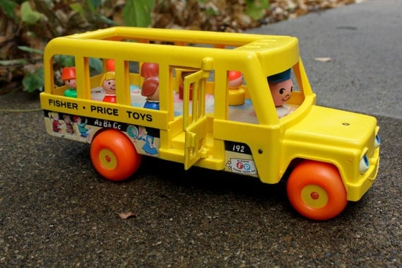 1965 Toys For Boys : Vintage fisher price toys school bus with all children