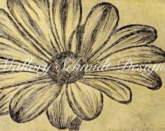 Wall art Home decor Original art Fine art etching INTAGLIO PRINT Printmaking Yellow daisy print floral print Decor print Flower handmade art