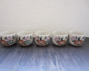 "Set of 5 Vintage ""Kutani"" Porcelain Sake Cup around 1970s"