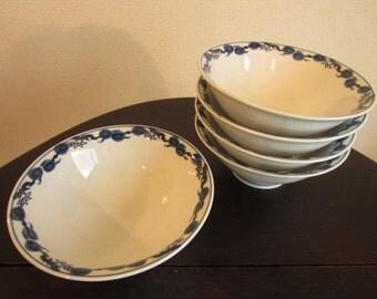 Set of 5 Japanese Vintage Blue and White Porcelain Salad Bowls around 1980s