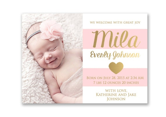 pink and gold baby girl birth announcement card digital