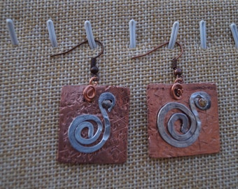 Copper and aluminum square earrings