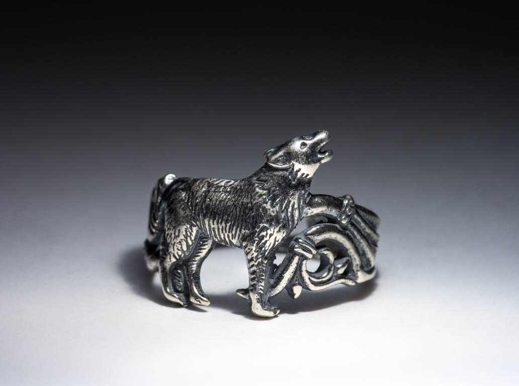 howling wolf ring silver plated brass adjustable size