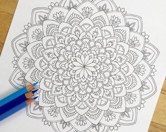 """Mandala """"Virtue"""" - Hand Drawn Adult Coloring Page Print"""