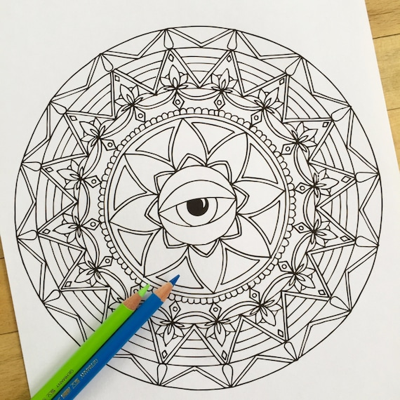Mandala Inner Eye Hand Drawn Adult Coloring Page