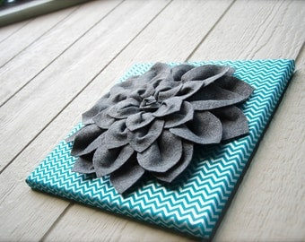 Felt Flower Canvas - 3D Wall Flower - Wall Decor - Silver/Teal Chevron - Smokey Grey Dahlia Flower - Wall Felt Flower - 12 x12