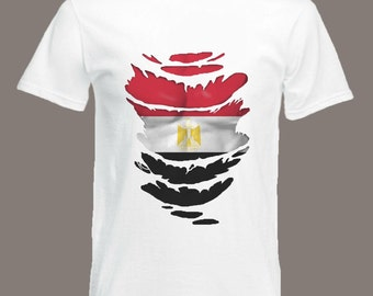 Egyptian Flag T-Shirt  see Muscles through Ripped T-Shirt Egypt in all sizes